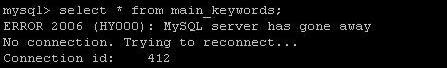 MySQL error code 2006