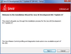 Java SDK installer wizard first screen