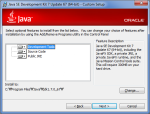 Java SDK installer wizard: component selection and install directory  location