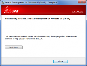 Java SDK installer wizard: Finishing installation