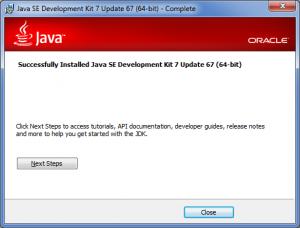 Java SDK installer wizard: Finishing installation
