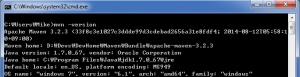 """The sample output when executing the command """"mvn -version"""""""