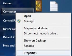 Selecting Properties from Computer menu in Windows startup menus