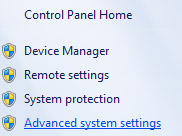 Advanced system settings menu in Control Panel Home