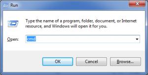 Windows + R  + cmd